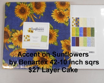 """Accent on Sunflowers 42- 10""""x 10"""" Squares per Layer Cake 100% Cotton NEW Benartex Fabric"""