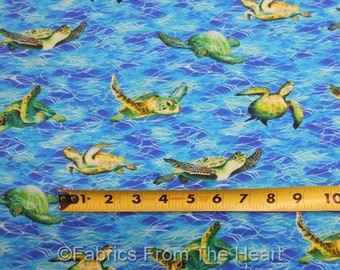 Sea Turtles Ocean on Sea Water Blues   BY Yard , 1/2 yd, Fat Quarter Robert Kaufman 100%  Cotton Fabric Coral Canyon Collection