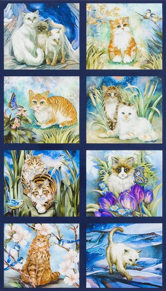 """Down on the Farm Puppies Kittens Digital  24x44/"""" Panel  Robert Kaufman Fabric"""