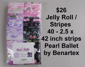 """Pearl Ballet Dancers Strips Jelly Roll  2.5"""" x 42""""- 40 strips 100% Cotton NEW Benartex Fabric w Pearlescent"""