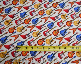 Guitars Electric Jazz Rock N Roll Music on Cream White BY YARDS ES Cotton Fabric