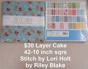 """Stitch 10""""x 10"""" -42 Squares per Layer Cake 100% Cotton NEW Riley Blake Fabric By Lori Holt of Bee in my Bonnet"""
