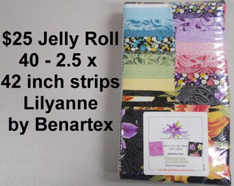 """Lilyanne w pearlescent Floral Strips  Jelly Roll  2.5"""" x 42""""- 40 strips 100% Cotton NEW  Benartex Fabric"""
