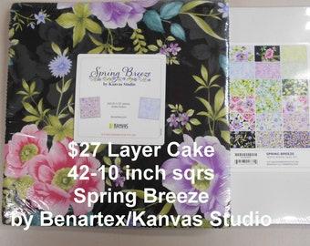 "Spring Breeze Floral  10""x 10"" -42 Squares per Layer Cake 100% Cotton NEW Benartex Kanvas Studio Fabric"