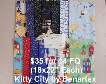 Kitty City 14 FQ Bundle Fat quarters (each 18x22) by Benartex 100% Cotton NEW Fabric w Cats, words