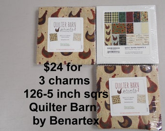 """Quilter Barn Country Life THREE 5"""" Charm Packs 126 sqrs Total,   100% Cotton NEW Benartex Fabric w Roosters Hens Sunflowers"""