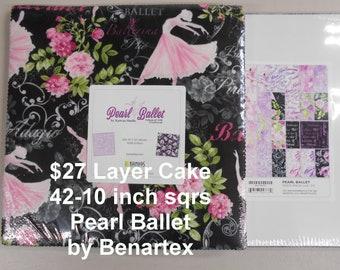 "Pearl Ballet Dancers Shoes Flowers 10""x 10"" -42 Squares per Layer Cake 100% Cotton NEW Benartex Kanvas Studio Fabric"
