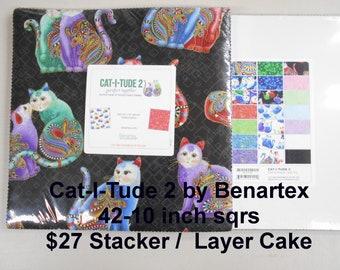 "Cat-I-Tude 2 Cats 42- 10""x 10"" Squares per Layer Cake 100% Cotton NEW Benartex Fabric"