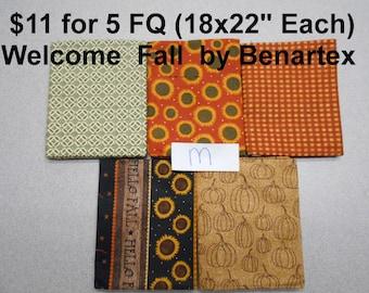 Welcome Fall Autumn Pumpkins Sunflowers 5 FQ Bundle Fat quarters (each 18x22) by Benartex 100% Cotton NEW Fabric