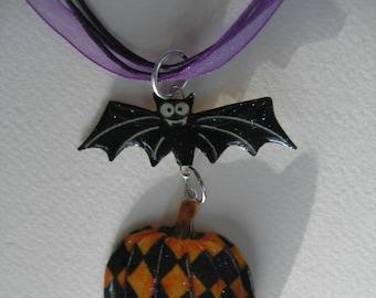 Dalton Bat Halloween Pumpkin Pendant Necklace Articulated Purple Quartz