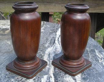 Vintage Pair Vases 1930s 1940s Mahogany Turned Wood Urn Vases Copper Inserts
