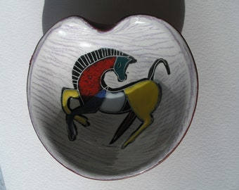 Rare Vintage 1960s Italian Painted Horse Ceramic Red Leather Bowl Dish Signed Pioneer Mid Century Modernist