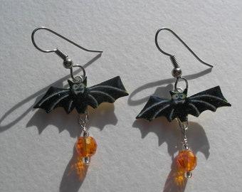 Signed Stephen Dalton Half Baked Ideas Halloween Bat Dangle Earrings Czech Beads