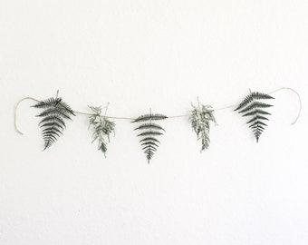 mini forest fern botanical banner |  minimalistic garland ,preserved ferns