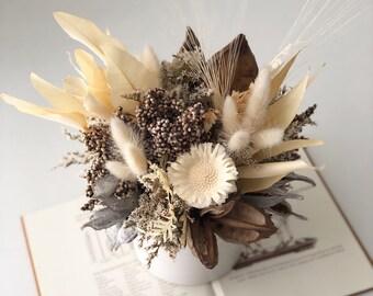 neutral tones- dried flower centerpiece, arrangement