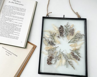 NEW- pressed neutral botanical wreath | wall hanging