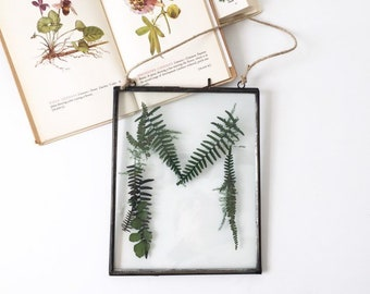 pressed botanical letter  |  glass wall hanging monogram, initial