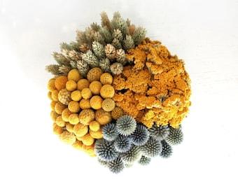 textured clusters- modern dried flower centerpiece