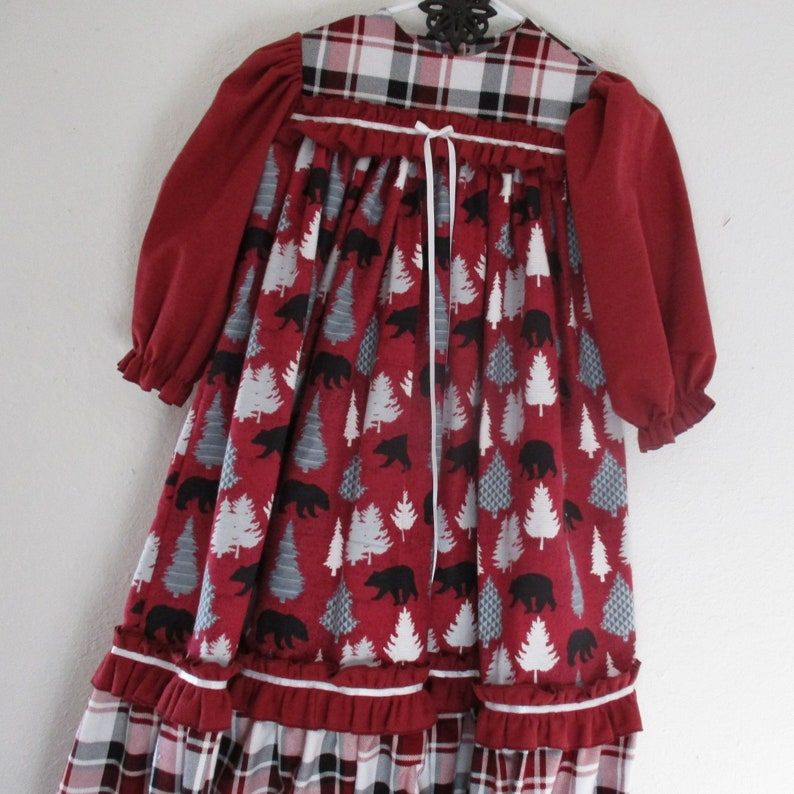 Old Fashion Flannel Gown-Size 5-Black Winter Bears and Pine Trees in gray and white on a deep red flannel with Plaid Accents