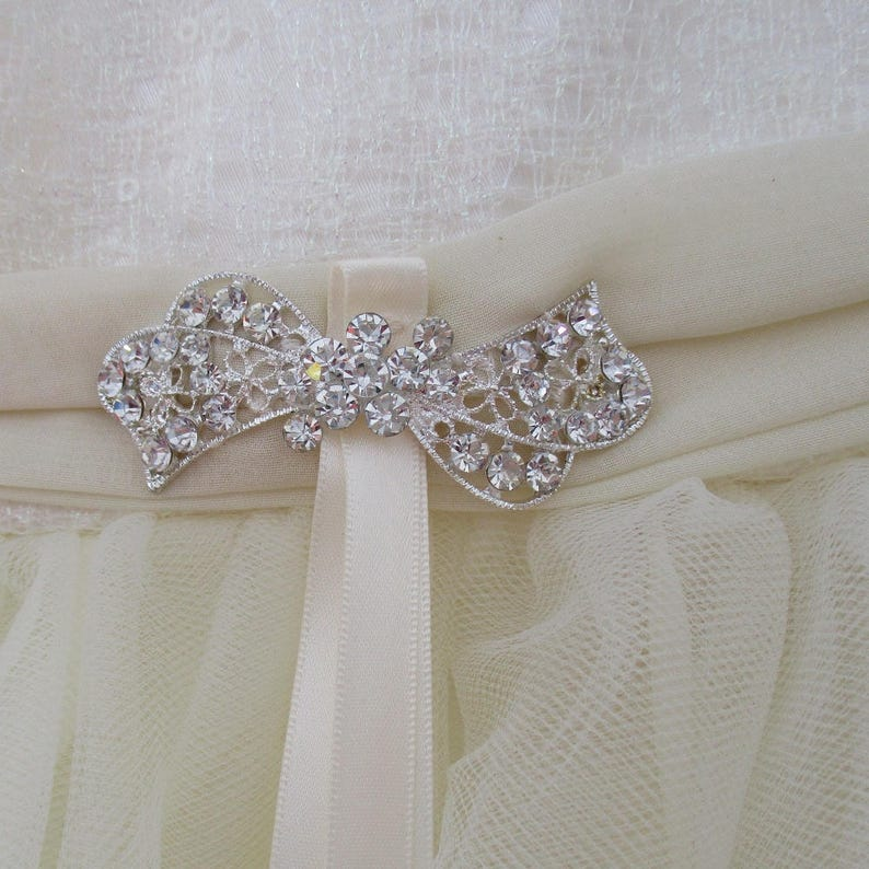 rhinestone pretty at waist chiffon sash and bow Size 4 Dress--Soft Ivory Tulle with lightly sequined lace bodice