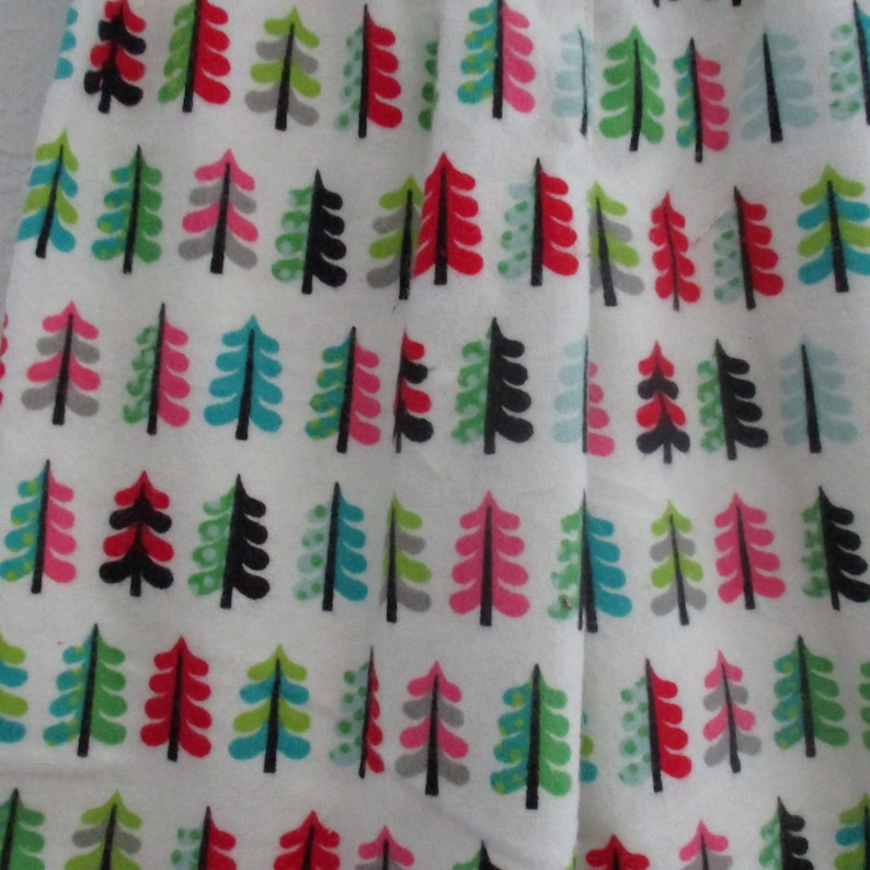 red pinks Size 18 Month Pajama PJ Lounge Flannel Pants- -Oh Christmas Tree blue and black on Soft White Flannel tons of trees in greens