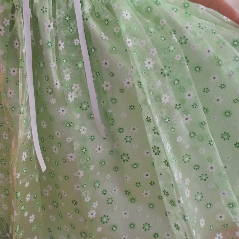 Sheer Floral Printed Bodice and Skirt 4- taffeta Underskirt- -Ruffle Sleeve Spring Green with White Flowers Dress-Sizes 12 Mo