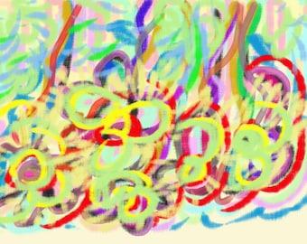 Cymbals, Original Digital Art Print, 8x8