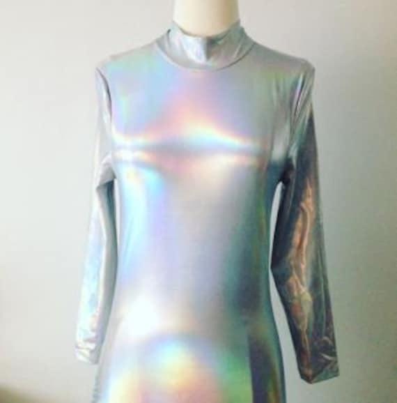 1990s Vintage Silver Holographic Fullbody Bodysuit