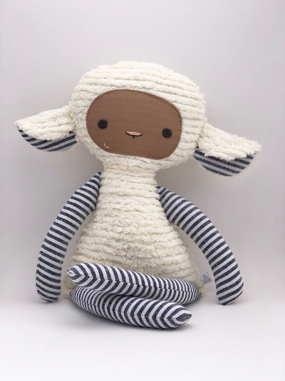 Charcoal Stripe Chenille Lovey Lamb