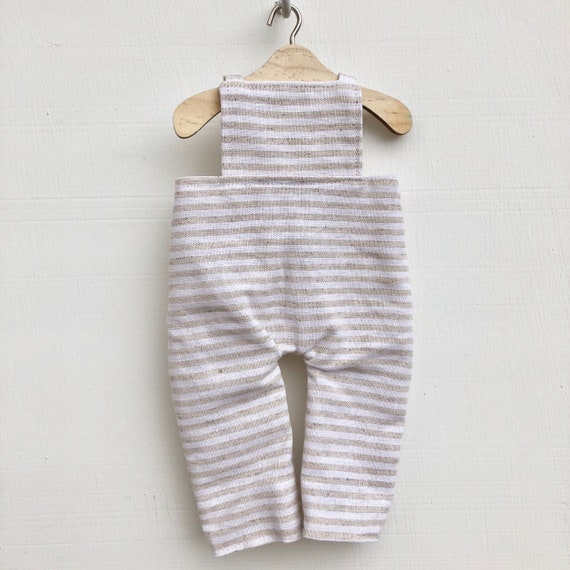 Beige Stripe Linen Doll  Doll Overalls