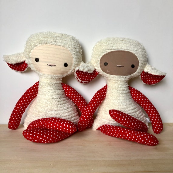 Red Hearts Lovey Lamb