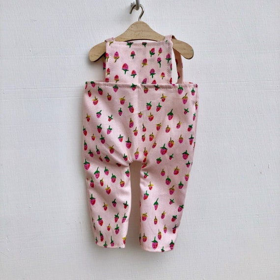 Pink Strawberry Doll Overalls
