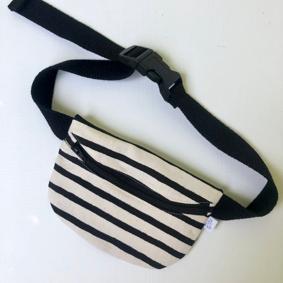 Treasure Pouch in Black and Cream Stripe