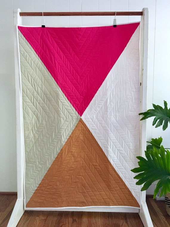 Pink Color Block Crib Quilt