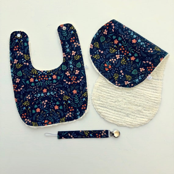 Wildwood Navy Floral Bib Gift Set