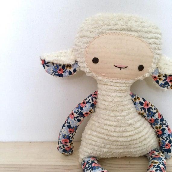 Cream Chenille Lovey Lamb