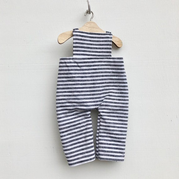 Charcoal Stripe Linen Doll  Doll Overalls
