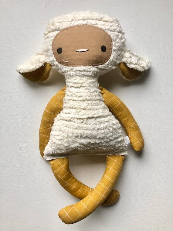 Mustard Grid Chenille Lovey Lamb