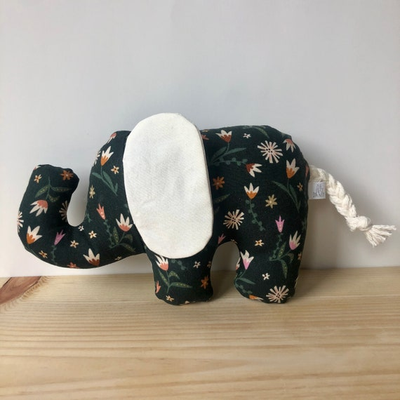 Green Floral Crinkle Ear Elephant Rattle