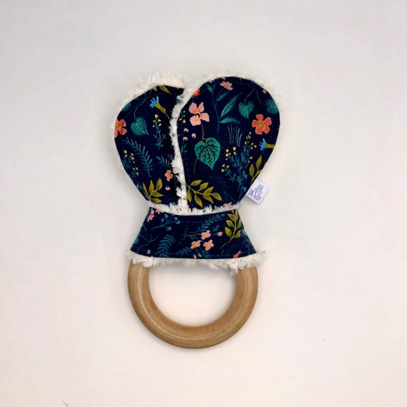 Wildwood Navy Crinkle Bunny Ears Teether