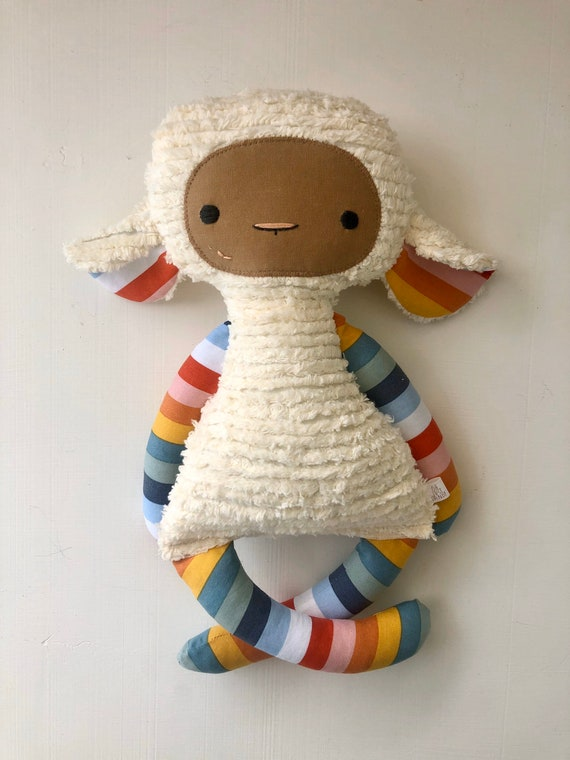 Rainbow Stripe Chenille Lovey Lamb