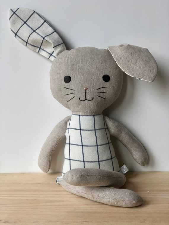 Blue Grid and Flax Linen Bunny