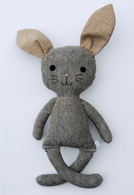 Olive Linen Bunny with Taupe Ears