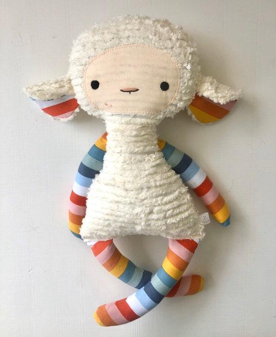 Rainbow Stripe Chenille Lovey Lamb