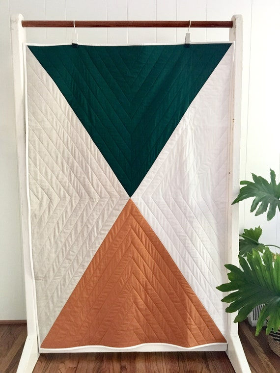 Hunter Green Color Block Crib Quilt