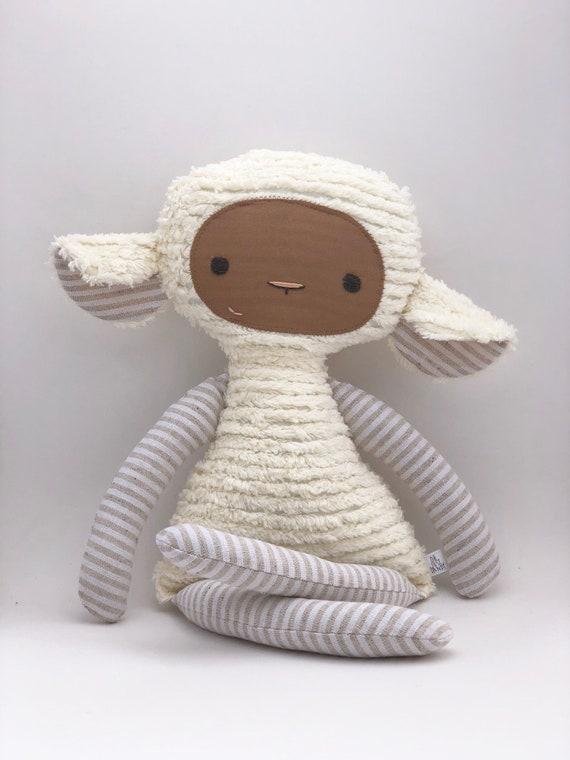 Beige Stripe Chenille Lovey Lamb