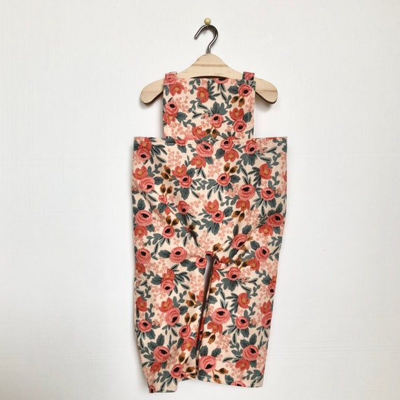 Peach Floral Overalls