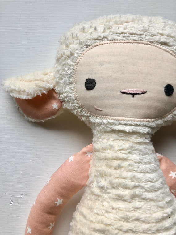 Pink Stars Chenille Lovey Lamb