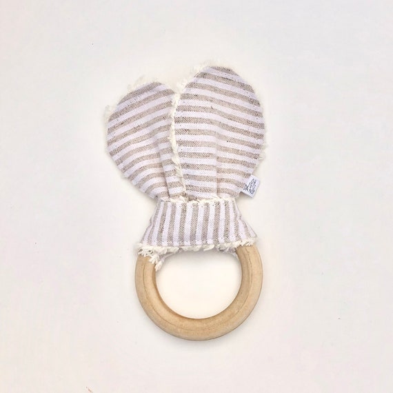 Beige and Cream Linen Striped Crinkle Bunny Ears Teether