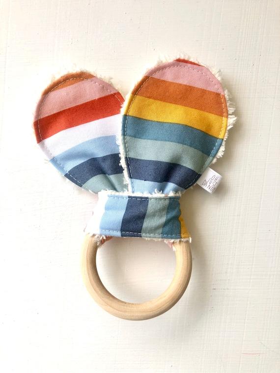Rainbow Crinkle Bunny Ears Teether